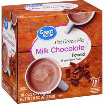 Great Value Milk Chocolate Hot Cocoa Mix Single Serve Cups, 18 Count