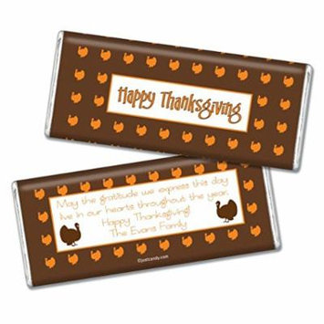Thanksgiving Personalized Chocolate Bar (Fully Assembled) Happy Turkeys (12 Count) Brown