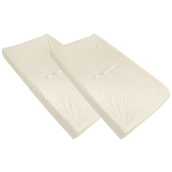 American Baby Company Heavenly Soft Minky Dot Changing Table Cover - 2 Pack - Ecru