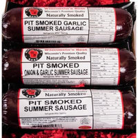 PIT Smoked Summer Sausages SAMPLER Gift - WISCONSIN'S BEST - features Garlic, Original, Onion & Garlic - (3) 12 oz Pkgs - Great Sausage Sampler!