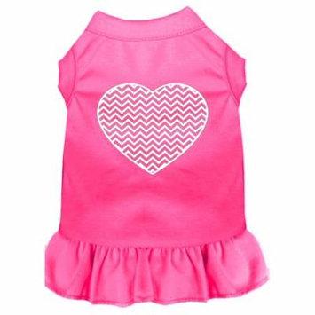 Chevron Heart Screen Print Dress Bright Pink Sm (10)