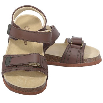 L'Amour Dark Brown Soft Footbed Strap Sandals Little Girls 11-4