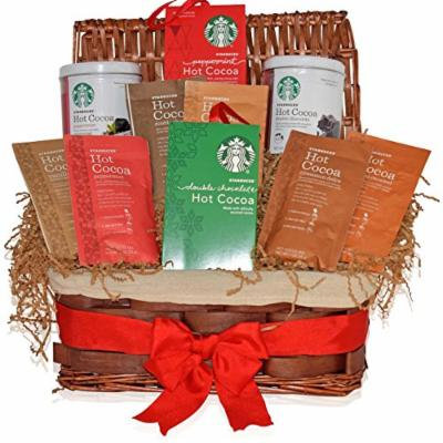 Starbucks Christmas Hot Cocoa Variety Decorative Gift Basket - 6 Different Flavors - Peppermint, Double Chocolate, Salted Caramel, Marshmallow and more - Christmas Gift for Family, Friends, Him, Her