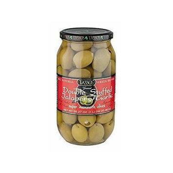 Tassos Double Stuffed Jalapeno and Garlic Olives, 1 Liter