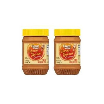 Great Value Honey Roasted Creamy Peanut Butter, 16 ounces (pack of 2)