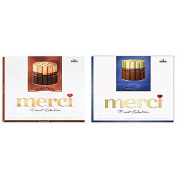 Merci European Dark & Milk Chocolates Variety (Red + Blue Variety, 8.8oz/box)
