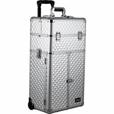 Sunrise Cavalli 2-In-1 Rolling Makeup Case Professional Nail Travel Organizer Box, Silver Diamond, 22 Pound