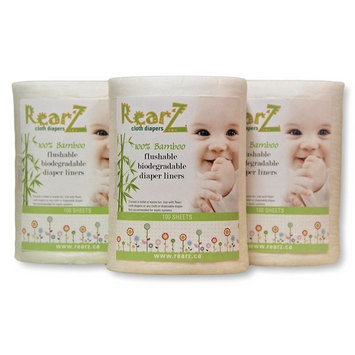 Rearz - All Natural, 100% Bamboo Diaper Liners - 100 Sheets (3 Pack)