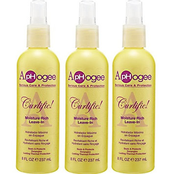 [VALUE PACK OF 3] APHOGEE CURLIFIC MOISTURE RICH LEAVE-IN 8oz THERMAL PROTECTION : Beauty