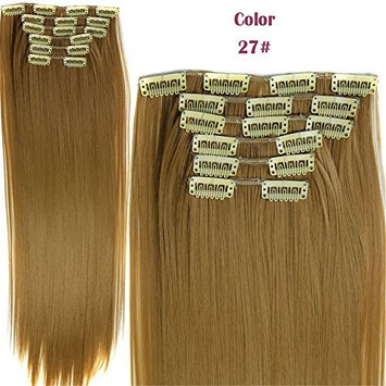 Fashion Women 24 Inches Straight Full Head 6 Separate Pieces Heat Resistance Synthetic Hair Clip in Hair Extensions 140g (27#)