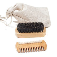 Boar Bristle Beard Brush and Beard Comb Set - For Men Beard and Mustache, Pear Wood dual sided comb