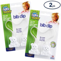 Bib Clip Turns Any Cloth, Towel, or Napkin into an Instant Bib Safely, Easily, & Quickly, Perfect for Eating Out or While Traveling, Eliminates Carrying Dirty, Soiled Bibs, 2 Count Value Pack, WHITE