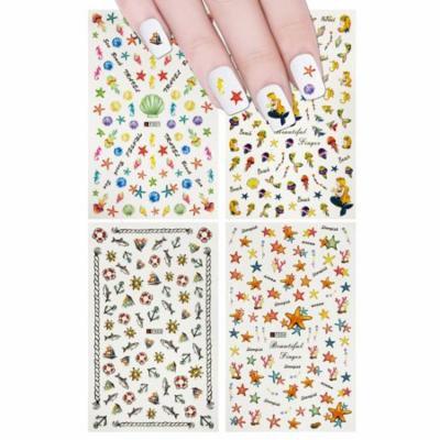 ALLYDREW 4 Sheets Nail Stickers Nail Art Nail Decal Set - Under the Sea Mermaid Nail Stickers