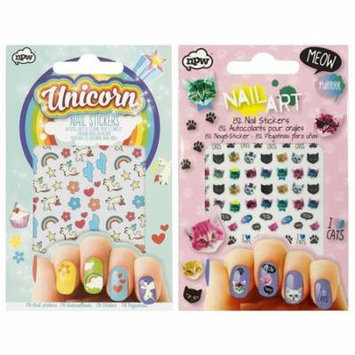 NPW Cat Crazy Nail Stickers & Unicorn Nail Stickers (set of 2, 160 nail stickers)