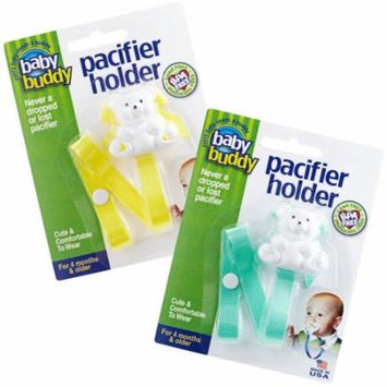 Bear Pacifier Holder Keeps Pacifiers Nearby and Off the Ground, Pick the Clip that Grips so Kids Won't Pull the Binky Off, Metal Snaps instead of Velcro, BPA Free, 2 Count Value Pack, YELLOW-MINT