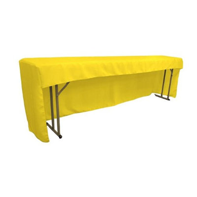 LA Linen TCpop-OB-fit-96x18x30-YellowLgtP99 Open Back Polyester Poplin Fitted Tablecloth for Classroom Tables Light Yellow