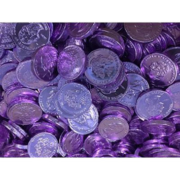 Solid Gourmet Milk Chocolate Large Gold Coins - Green Gold Silver and Pink / Purple - 2 Full Pounds Bulk Wholesale (Light Purple)