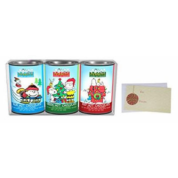 Hot Chocolate Gift Set, Peanuts Christmas Holiday Colorful Cocoa Mix, Blue Hot Chocolate, Green Hot Chocolate, Red Hot Chocolate, 3 – 2.5 Oz. Oval Tins.
