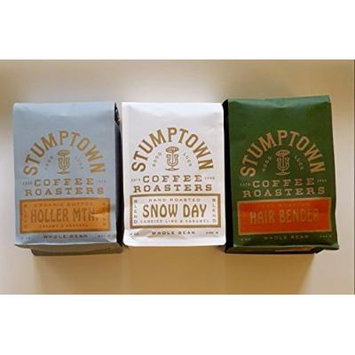 Stumptown Coffee Roasters Whole Beans, HOLLER MTN. Organic, SNOW DAY & Hair Bender, Winter Trio, Direct Trade12oz EACH Bag ~Fresh Roasted in Los Angeles California
