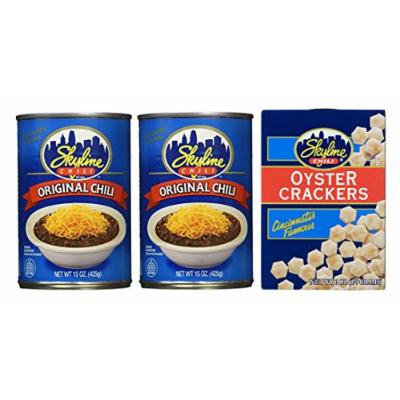 Skyline Chili Bundle (2) Cans of Original Chili 15 Ounce and (1) Box of Oyster Crackers 6 Ounce