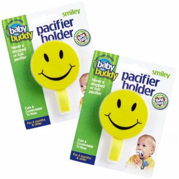 Smiley Pacifier Holder Keeps Pacifiers Nearby & Off the Ground, Pick the Clip that Grips so Kids Won't Pull the Binky Off, Metal Snaps instead of Velcro, BPA Free, 2 Count Value Pack, YELLOW