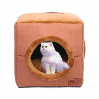 Hot Sale NEW Winter Cube-shape Dog Cat Bed Plush Windproof Warm Soft Pet House Portable Comfortable Pets Sleeping Bag With Round Hole(coffee)