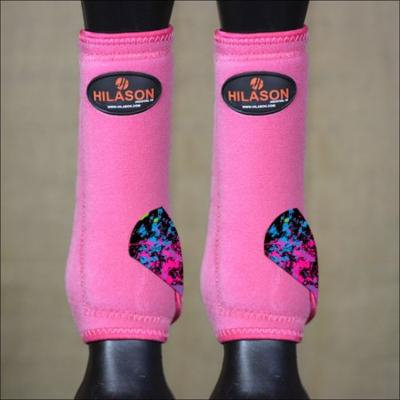 MEDIUM HILASON HORSE REAR HIND LEG PROTECTION ULTIMATE SPORTS BOOT PINK SPLATTER