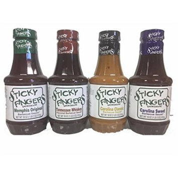 Sticky Fingers BBQ Sauce Variety Pack of 4 - Memphis Original, Tennessee Whisky, Carolina Classic, and Carolina Sweet,