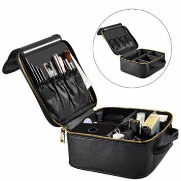 Portable Travel Makeup Bag, Waterproof Makeup Train Case Cosmetic Organizer Kit Artists Storage for Cosmetics, Makeup Brush Set, Toiletry And Travel Accessories(Small,Black)