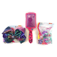 JoJo Siwa 3pc Bundle- Purple Mermaid Sequin Cheer Bow with You Be You Dream Huge Hair Brush and Cupcake Scented Bath Bombs