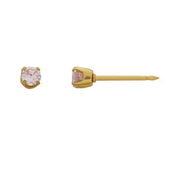 Home Ear Piercing Kit with a 14KT 3MM October CZ Earring