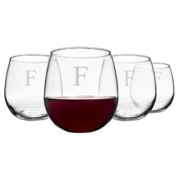 Cathy's Concepts 16.75 oz. Personalized Stemless Red Wine Glasses (Set of 4) A-Z