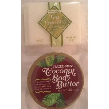 Trader Joe Bundle - Coconut Body Butter and Tea Tree Oil Vegetable Soap - 2 items