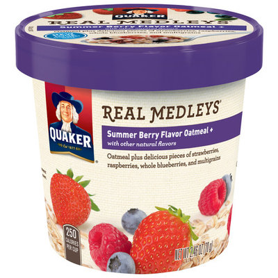 Quaker® Real Medleys® Summer Berry Flavor Oatmeal 2.46 oz. Cup (12 Pack)