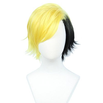 Linfairy Short Two Tone Layered Cosplay Wig Halloween Costume Wig for Men