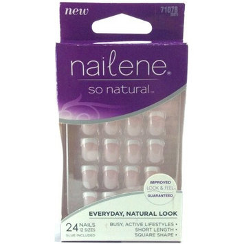 Nailene so Natural 24 Glue on Nails 12 Sizes Short Length Square Shape Glue Included 71078 (1 Box)
