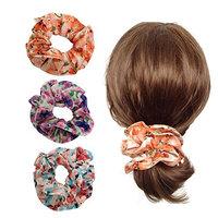 Elegant Double Layer Flower Scrunchies Women's Hair Scrunchies Hair Bow Ponytail Holder-EU001