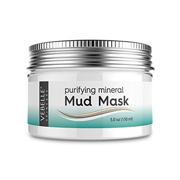 Mud Mask by VEBELLE the Anti Aging Company - Organic & Natural Facial Mask for Deep Pore Cleansing, Oily Skin, Acne & Blackheads - Reduce Appearance of Wrinkles & Large Pores - 5.0 oz