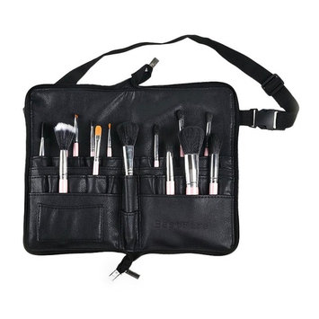 BestFire Professional Makeup Brush Bag Case Portable 22 Pockets Cosmetic Brush Holder Organizer with Artist Belt Strap PU Leather(Brushes Not Included)