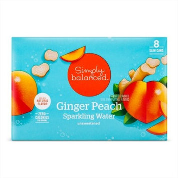 Ginger Peach Sparkling Water - 8pk/12 fl oz Cans - Simply Balanced™
