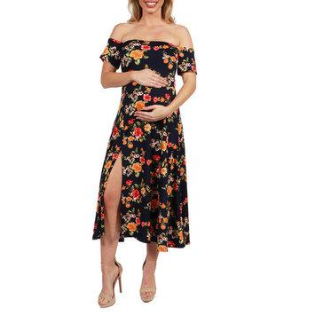 Eleanor Black Floral Side Slit Maternity Dress