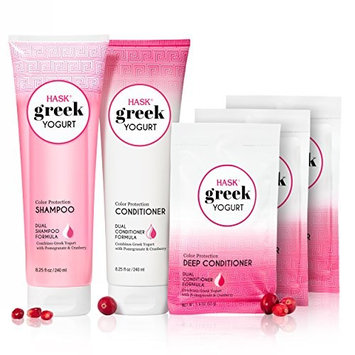 HASK Greek Yogurt Color Protection Cranberry & Pomegranate Shampoo, Conditioner and Deep Conditioner Packettes Kit [Color Protection- Cranberry and Pomegranate]