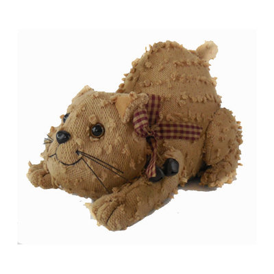 Craft Outlet Shabby Elegance Chenille Fabric Kitty Collectible Figurine