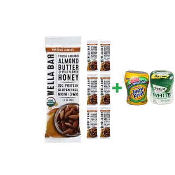 Wella Bar Awesome Almond Org - 1.4 Oz (7 PACK)+ Fruity Chews Gum Watermelon 1/60 Count + Trident Go Cup Spearmint 1/60 Count