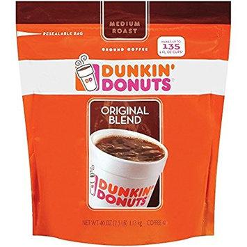 Dunkin' Donuts Original Medium Roast Blend Coffee, 1Pack (40oz Each) B@kGGFS