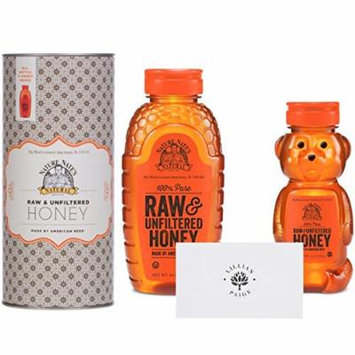 Nature Nate's 100% Pure Raw & Unfiltered Honey in Dependable Packaging to Prevent Breakage with LP card - LP Bundle (Kitchen Tin and Honey Bear, 16 Ounce & 12 Ounce)