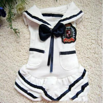 SCT Dog Dress Navy Style Cute Pet Cotton Bowknot Clothes