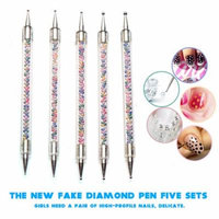 Girl12Queen 5Pcs/Set Nail Art Dotting Tool Pen Colorful Beads Double Ended Manicure Kit