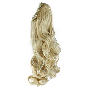 18 Inches Bleach Blonde Long Wave Curly Claw Ponytails Clip on Ponytail Hair Extensions Hairpiece Pony Tail Extension for Girl Lady Women