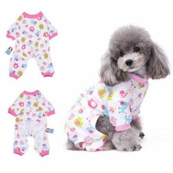 Girl12Queen Cute Cartoon Print Unisex Dog Pajamas Four-legged Jumpsuit Clothes Pet Sleepwear
